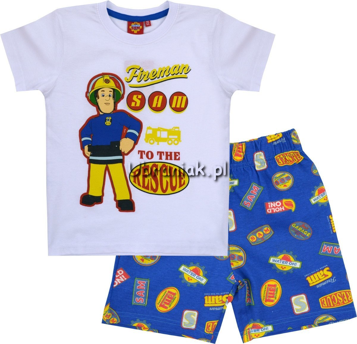 49e754255908d2 Piżama Strażak Sam biała koszulka, rozmiary 98-128 ubrania dla dzieci
