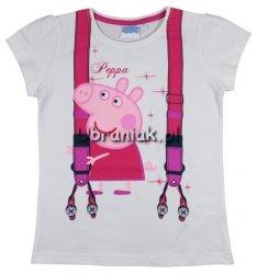 T-shirt Świnka Peppa biały szelki