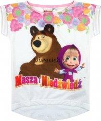 T-shirt Masza i Niedźwiedz biały w kwiaty