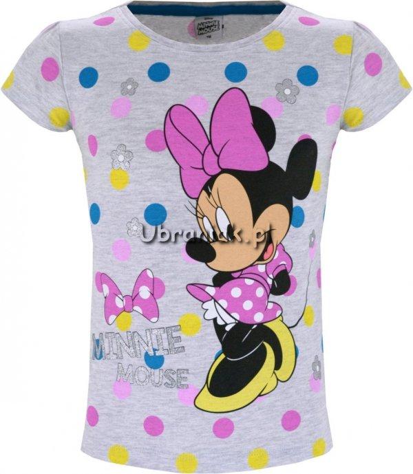T-shirt Myszka Minnie w kropki szary