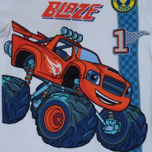 Piżama Blaze i Mega Maszyny biało pomarańczowa