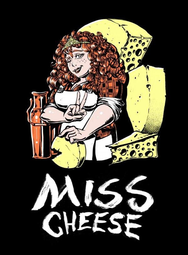 Damska koszulka - Miss Cheese roz. L