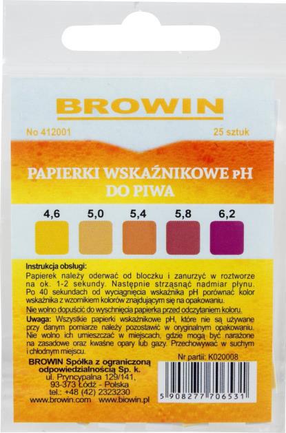 Papierki wskaźnikowe pH do piwa - lakmusowe. 25 sztuk