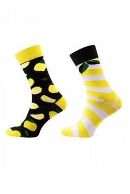 Sesto Senso Finest Cotton Duo citron/listí Ponožky