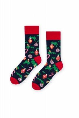 Steven 136 Vánoční koule(Bombki) tmavě modré Pánské ponožky