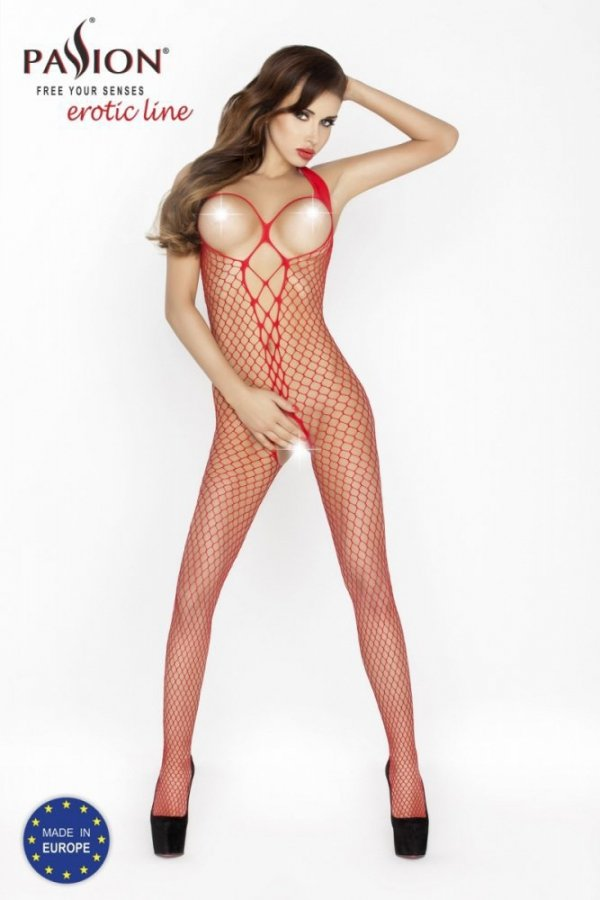 Passion BS014 červený Bodystocking