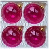 Bombki gładkie 8 cm 4 szt różowe przezroczyste