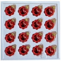 Bombki gładkie 3 cm 16 szt czerwony błysk