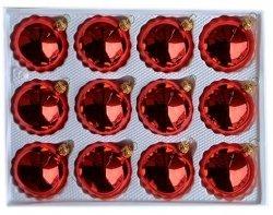 Bombki gładkie 6cm 12 szt czerwony błysk