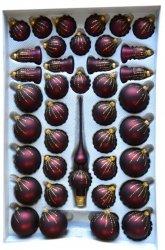 Zestaw dekorowany 39 szt bordo mat