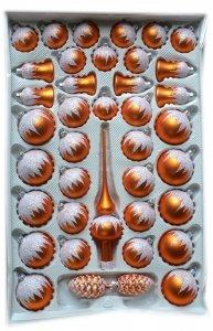 Zestaw 39 szt dekorowany pomarańczowy mat
