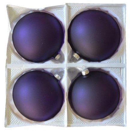 Bombki przezroczyste 12 cm 4 szt fioletowe matowe