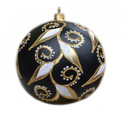 Bombka dekorowana duża 15 cm  czarno-złota