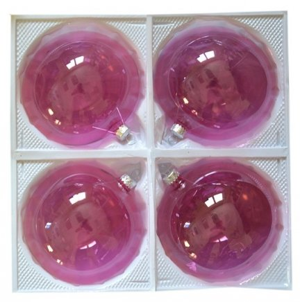 Bombki przezroczyste 12 cm 4 szt róż jasny