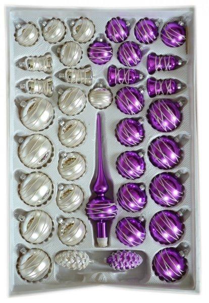 Zestaw dekorowany 39 szt biało-srebrno-fioletowy