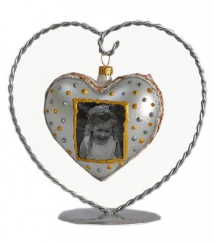 Bombka serce ze zdjęciem + stojak