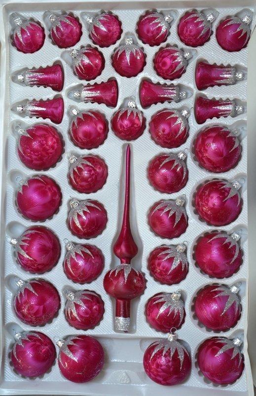 Zestaw dekorowany 39 szt róż ciemny mrożonka