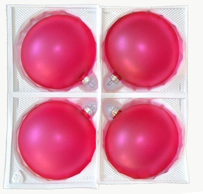 Bombki przezroczyste 12 cm 4 szt różowe matowe