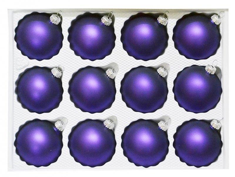 Bombki gładkie 6cm 12 szt fiolet mat