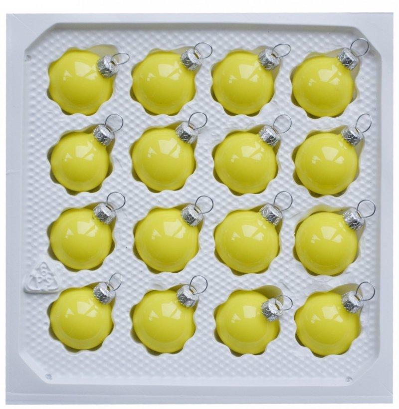 Bombki gładkie 3 cm 16 szt żółta porcelana