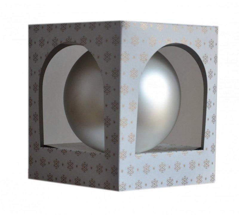 Bombka gładka duża 15 cm biały/srebrny mat