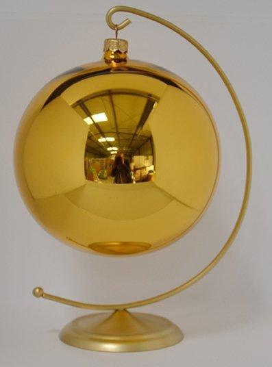 Bombka gładka duża 15 cm złoty błysk
