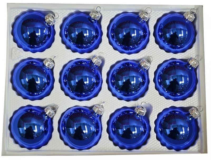 Bombki gładkie 6cm 12 szt niebieski błysk