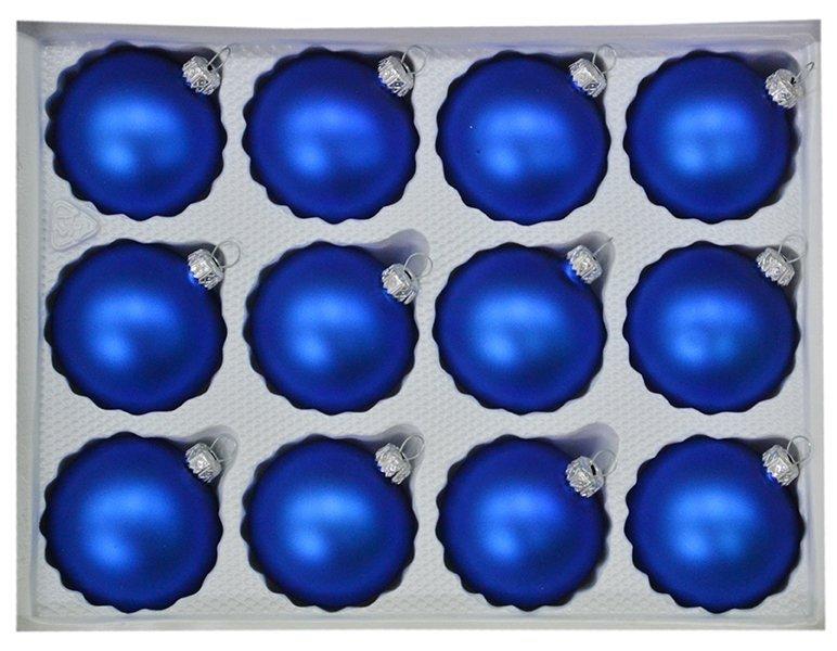 Bombki gładkie 6cm 12 szt niebieski mat