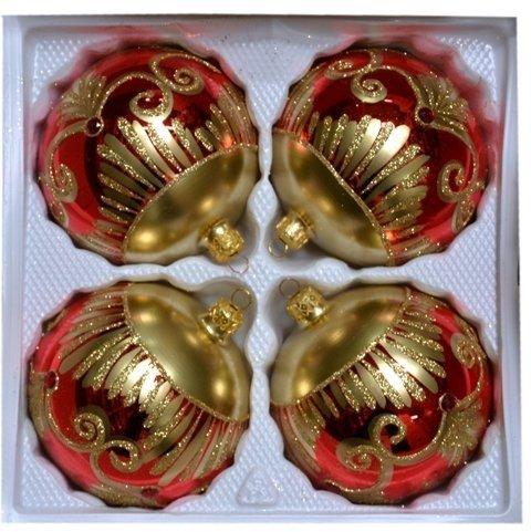 Bombki dekorowane10 cm 4 szt czerwony błysk