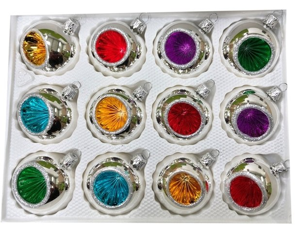 Bombki 6 cm 12 szt srebrne REFLEKTOR mix kolorów