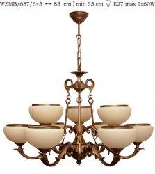 Żyrandol mosiężny JBT Stylowe Lampy WZMB/687/6+3