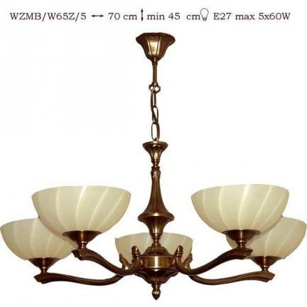 Żyrandol mosiężny JBT Stylowe Lampy WZMB/W65Z/5