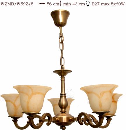 Żyrandol mosiężny JBT Stylowe Lampy WZMB/W59Z/5