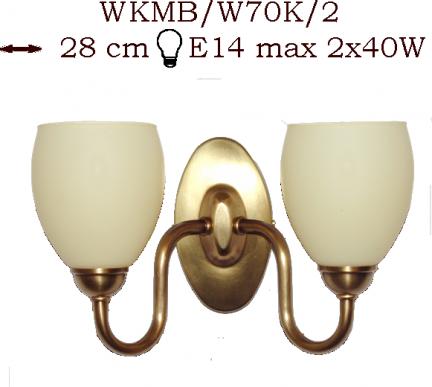 Kinkiet mosiężny JBT Stylowe Lampy WKMB/W70K/2