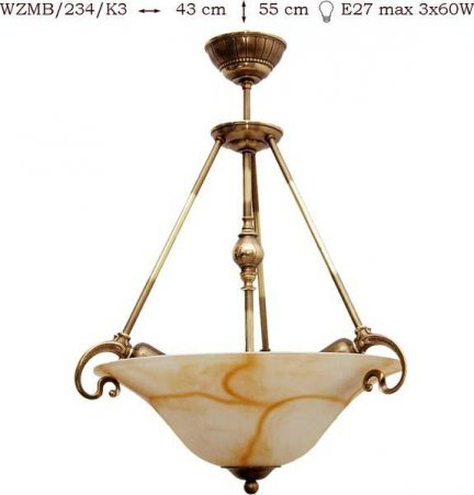 Żyrandol mosiężny JBT Stylowe Lampy WZMB/234/K3