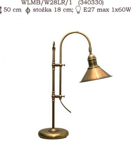 Lampka mosiężna JBT Stylowe Lampy WLMB/W28/LR/1(CBW340330)