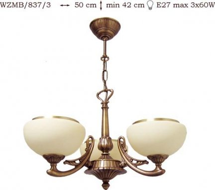 Żyrandol mosiężny JBT Stylowe Lampy WZMB/837/3