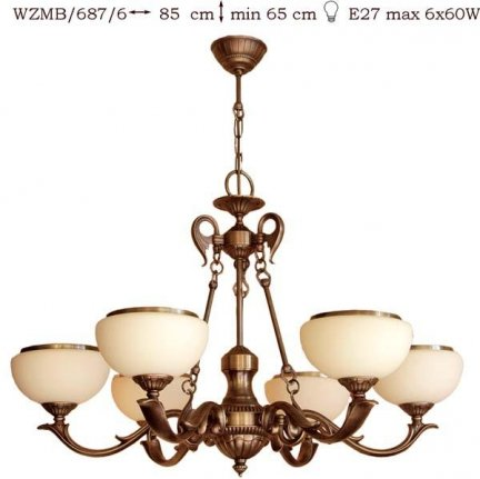 Żyrandol mosiężny JBT Stylowe Lampy WZMB/687/6