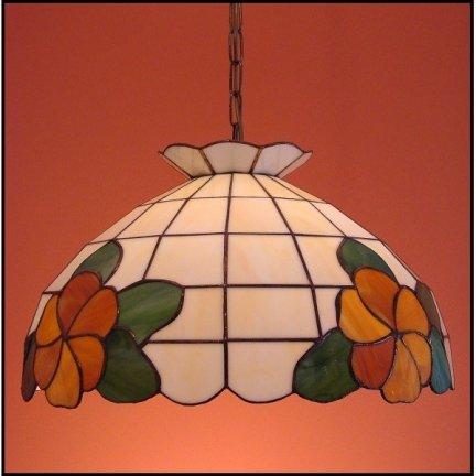 Lampa żyrandol zwis witraż KWIATY 40cm