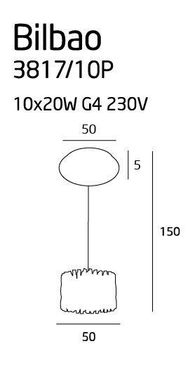 Bilbao 10 lampa wisząca mała 3817/10P MAXlight