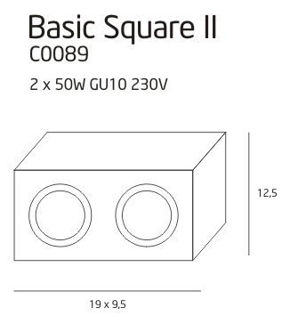 BASIC SQUARE II BK oprawa natynkowa C0089