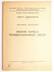BADANIE NAPIĘCIA POWIERZCHNIOWEGO CIECZY - Maria Górecka, Tadeusz Górecki 1971
