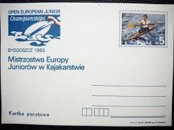 KARTKA POCZTOWA. MISTRZOSTWA EUROPY JUNIORÓW W KAJAKARSTWIE. BYDGOSZCZ 1983