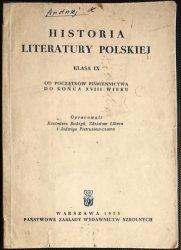 HISTORIA LITERATURY POLSKIEJ. KLASA IX