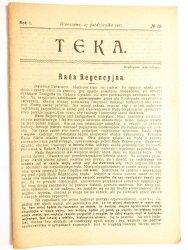 TEKA. NR 15 ROK I WARSZAWA, 27 PAŹDZIERNIKA 1917