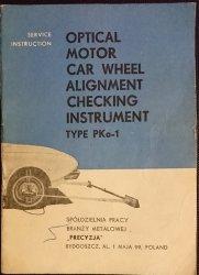 OPTICAL MOTOR CAR WHEEL ALIGNMENT CHECKING INSTRUMENT. TYPE PKo-1