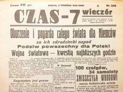 CZAS – 7 WIECZÓR SOBOTA, 2 WRZEŚNIA 1939 ROKU NR 243 REPRINT