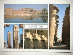 KARNAK. HALL OF COLUMNS RAMB HEADED SPHINXES