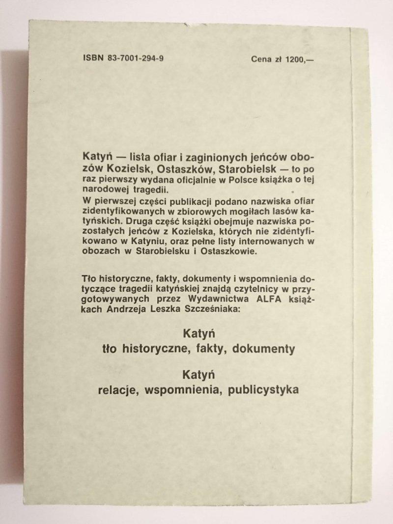 KATYŃ. LISTA OFIAR I ZAGINIONYCH 1989