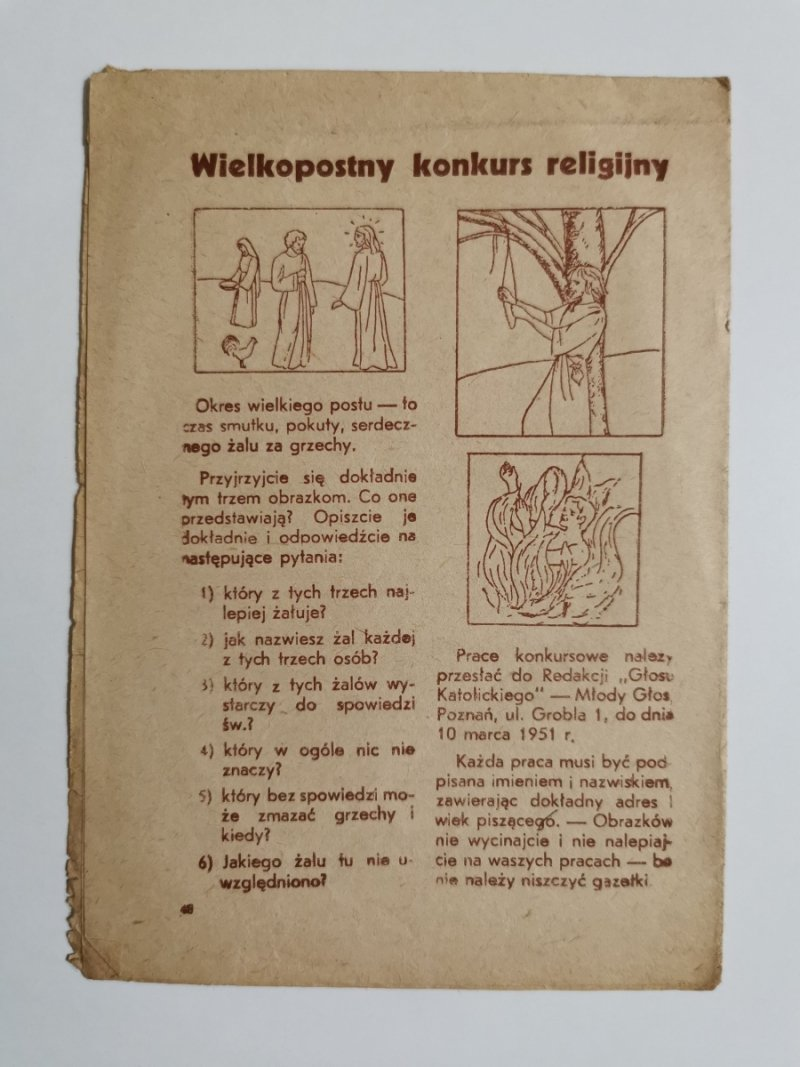 MŁODY GŁOS DODATEK DO GŁOSU KATOLICKIEGO NR 6 1951